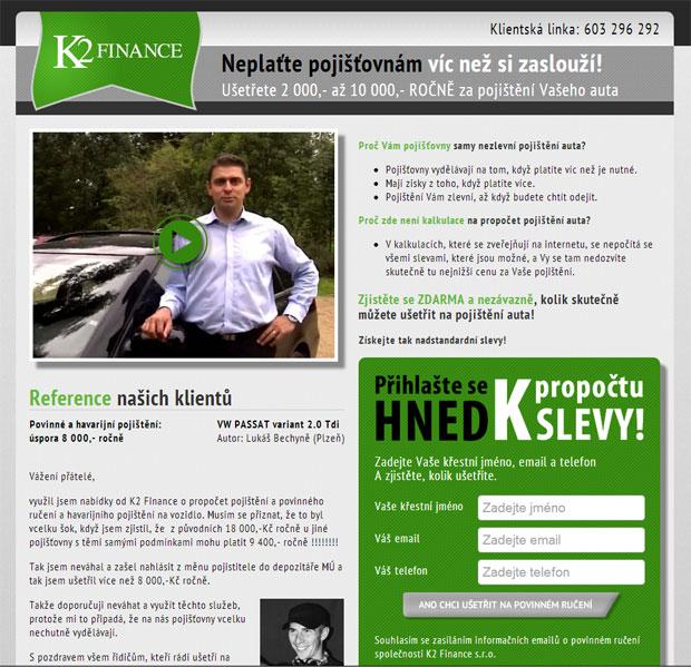 Zachytávací stránka Neplať zbytečně firmy K2 Finance