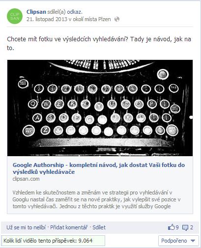 Ukázka příspěvku na Facebooku