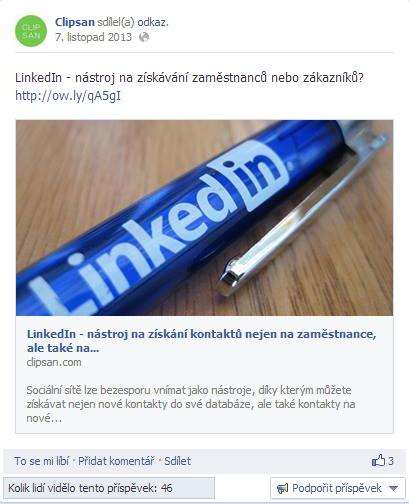 Náhled příspěvku na Facebooku