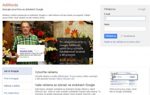 Náhled vstupní stránky Google Adwords