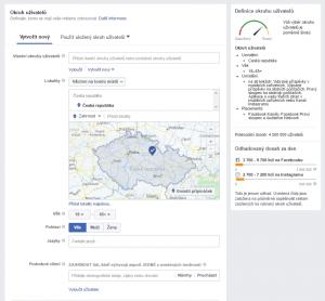 Náhled prostředí Facebooku, kde se reklamy vytvářejí
