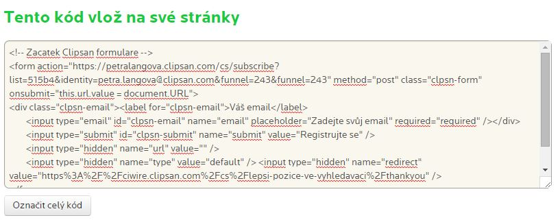 HTML kód formuláře