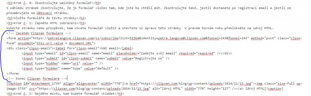 Vložení HTML kódu do textu stránky