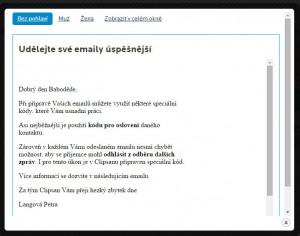 Náhled vytvořeného emailu