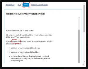 Náhled připravovaného emailu