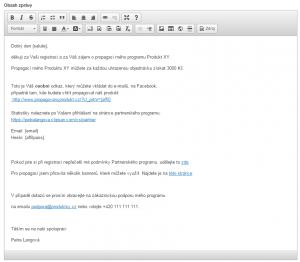 Ukázka textu emailu