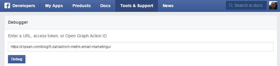 Facebook nástroj na ladění