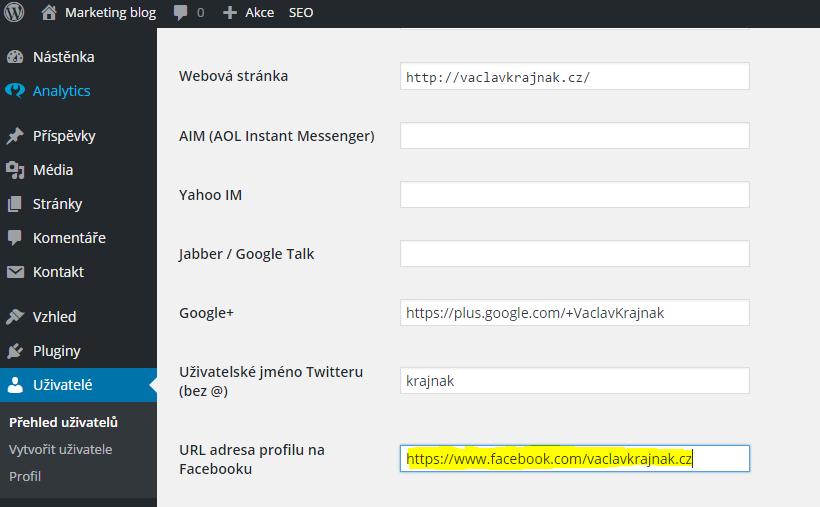 Vyplnění URL adresy profilu na Facebooku pro WordPress SEO