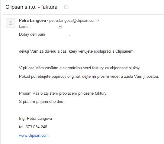První příklad e-mailu online