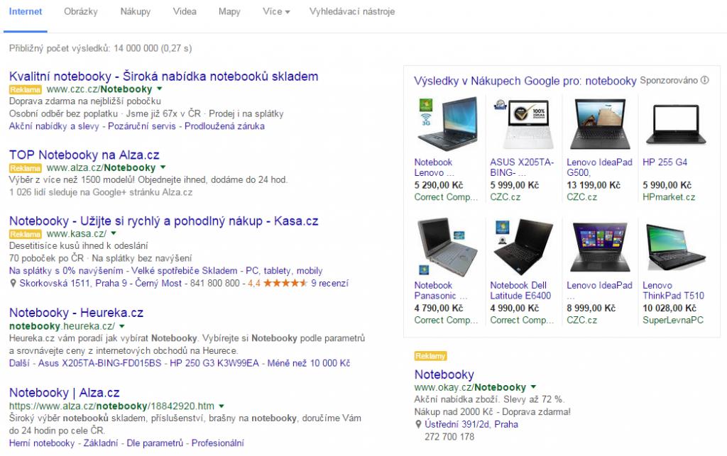 Náhled reklamy Googlw Adwords