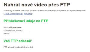 Nahrání videa přes FTP