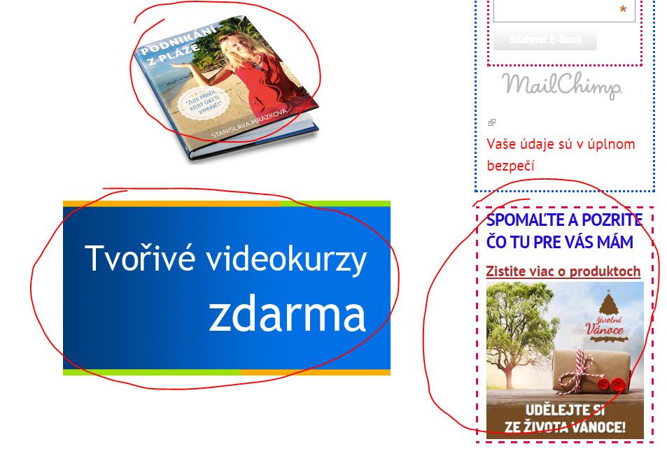 Odkazy a bannery na stránkách affiliate partnera
