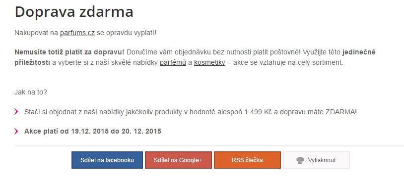 Doprava zdarma na webu parfums.cz