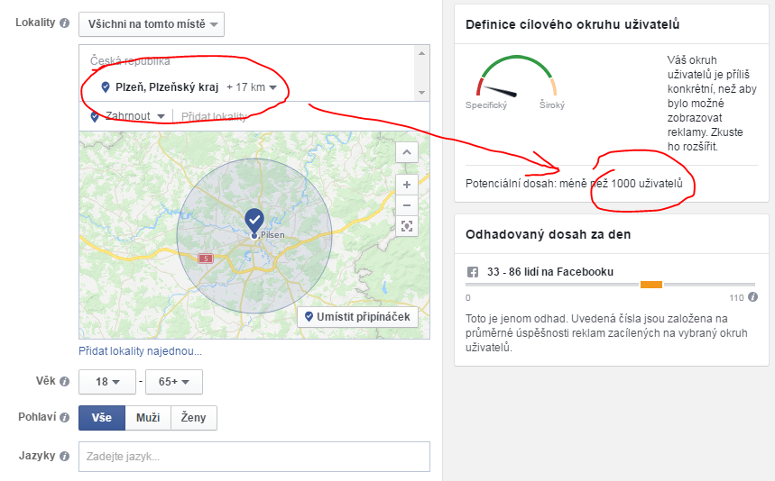 Zúžení cílení na Plzeň a nejbližší okolí