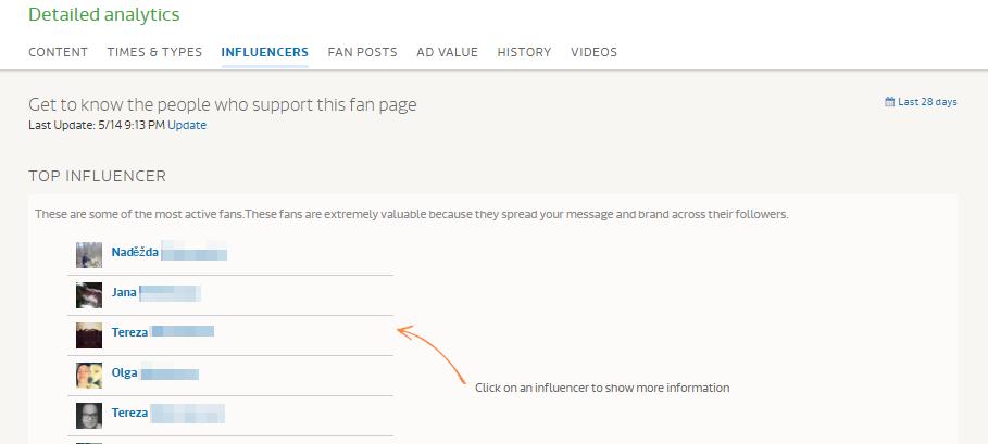 Přehled ambasadorů značky na Fanpage Karma
