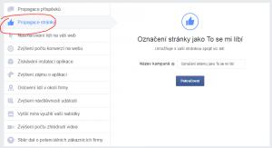 Kampaň na propagaci stránky na Facebooku