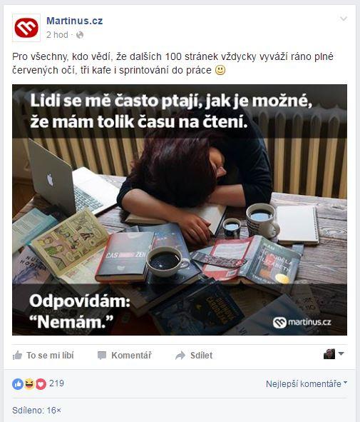 Úspěšný příspěvek na Facebook stránce