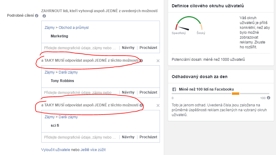 Cílení Facebook reklamy na několik zájmů společně
