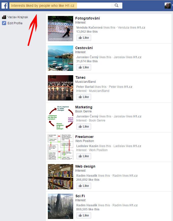 Vyhledání zájmu fanoušků pomocí Facebook Graph Search