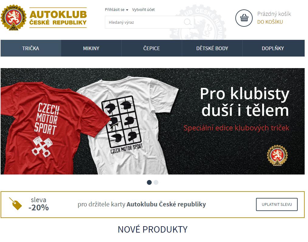 Sleva pro členy klubu na stránce fanshop.autoklub.cz