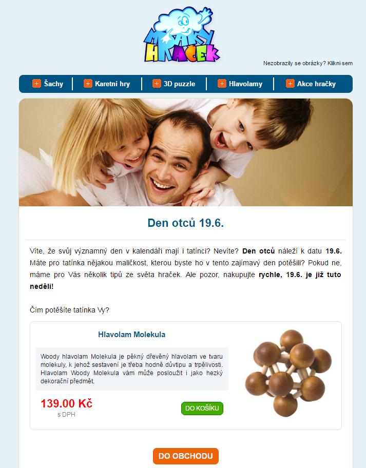 Využití dne otců pro přípravu emailu