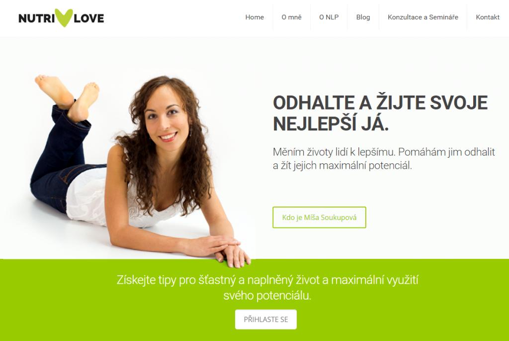 Registrace na hlavní stránce webu