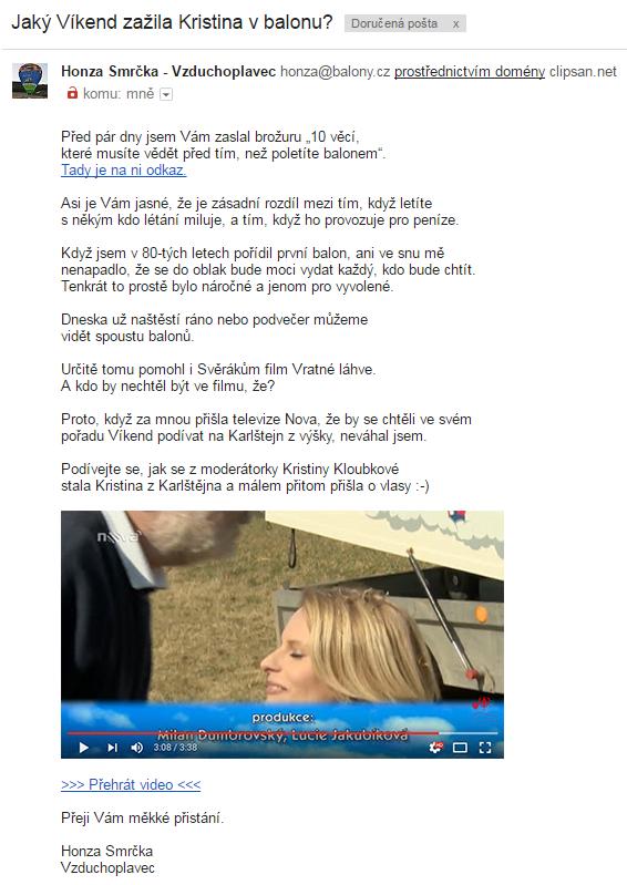 Video v emailu s výzvou k akci