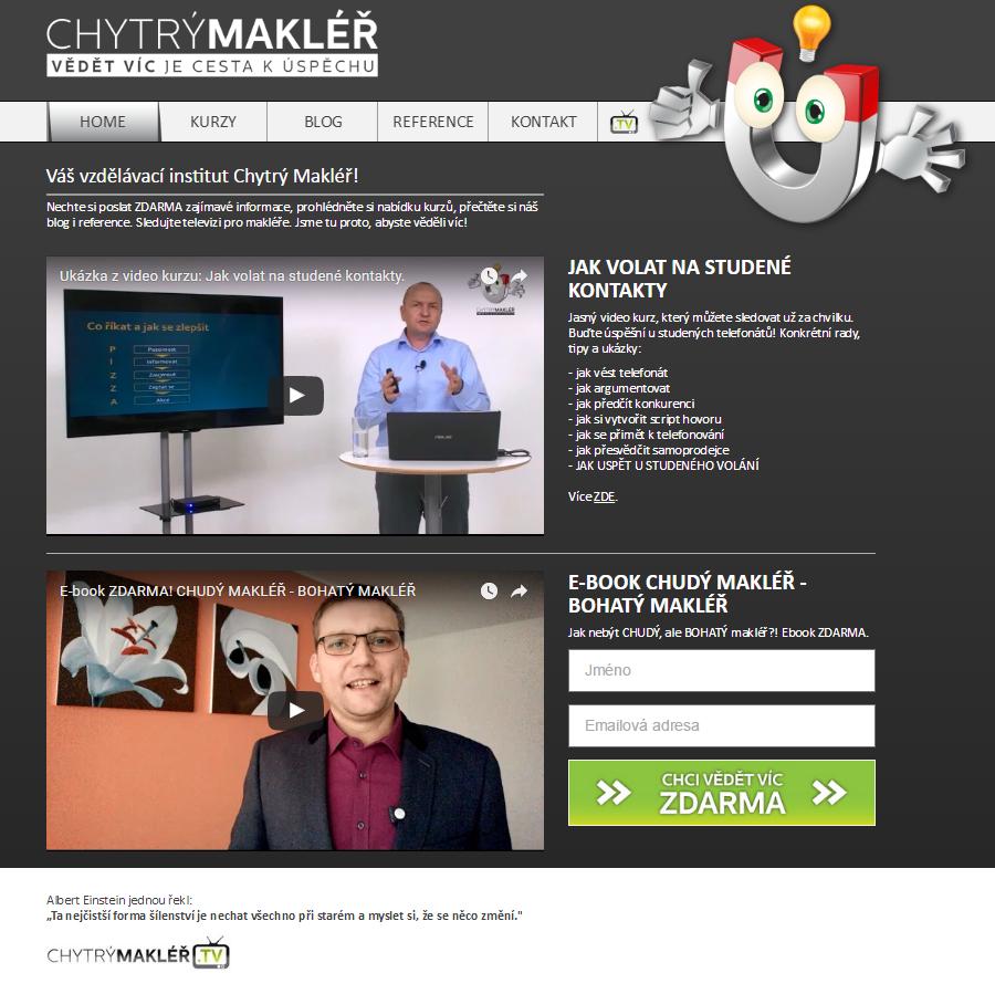 Webové stránky vzdělávacího institutu Chytrý makléř