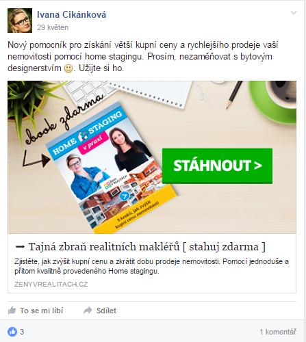 Příspěvek na FB profilu Ivany Cikánkové