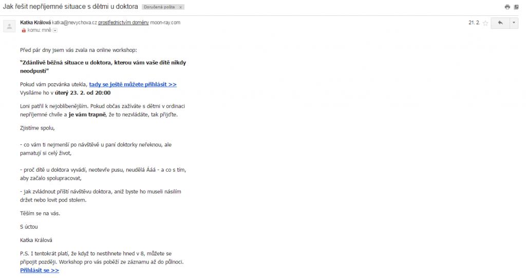 Email nabízející řešení provlému
