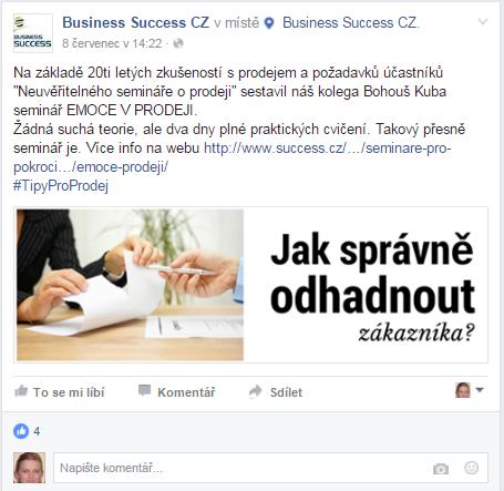 Příkladprodejního příspěvku na Facebooku