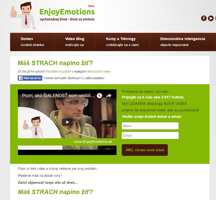 Využití sociálního důkazu u formuláře na kontakty na webu enjoyemotion.sk