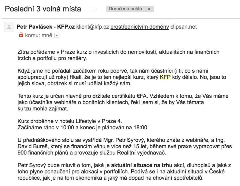 Email s omezenou nabídkou