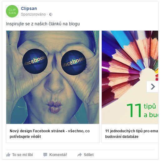 Rotující fotky ve Facebook reklamě