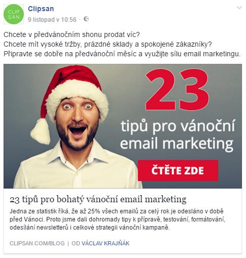 Příklad marketingového příspěvku na Facebooku