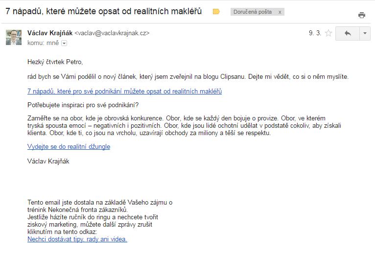Emailové upozornění na článek