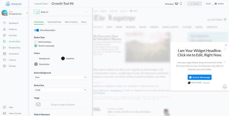 Výchozí okno sběru uživatelů pro chatbota